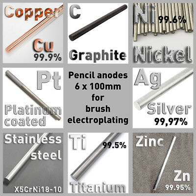 Anodes for Brush Electroplating, Dia. 6 x 100mm, Pure Metal, Round Bar, Element