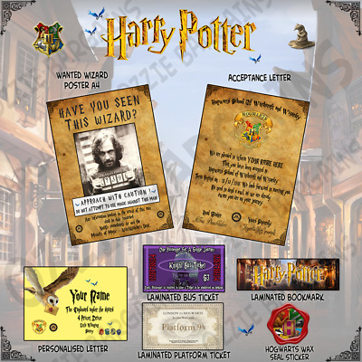 Harry Potter Acceptance Letter + Wanted Poster - Personalised - Gift Set -
