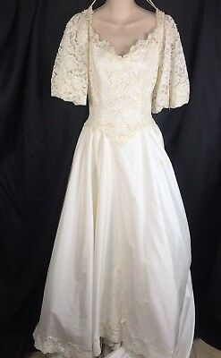 VTG 80s Beaded Lace Wedding Dress Cleaning/Repair/Zombie Fits S Small