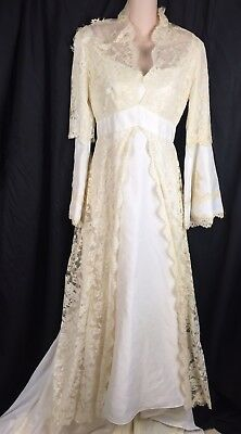 VTG 60s 70s Layered Lace Wedding Dress Repair/Rehab/Zombie Fits S - M WOW!!