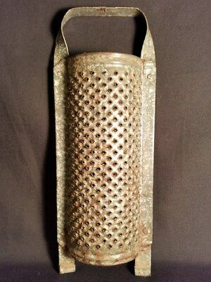 Antique Rare Blue Cheese Grater Graniteware Enamel Primitive Vintage