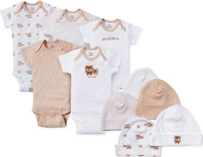 Gerber Baby 10-Piece Layette Set - Unisex Onesies & Caps - 3-6 Mos. - Bear - Nwt