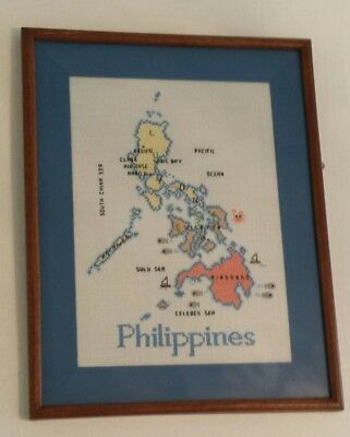 Beautiful Framed Vintage Cross Stitch Map of The Philippines! Filipino Craft