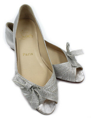 f761df37369 AUTHENTIC CHRISTIAN LOUBOUTIN Silver Bow Ribbon Ballet Flats 37.5