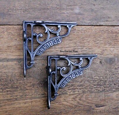 Classic Pair Of GWR Victorian Scroll Antique Style Cast Iron Shelf Brackets 5""