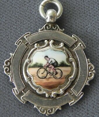 Bicyclist Antique Art Deco Sterling Silver & Enamel Watch Fob Awards Medal 1924