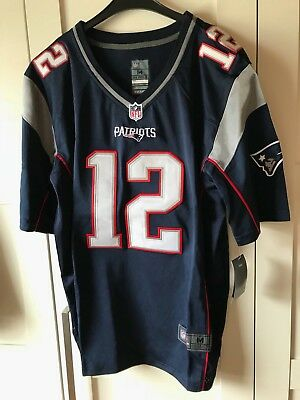 New England Patriots Tom Brady #12 NFL Game Jersey/Trikot Navy Blue/Silver Gr. M