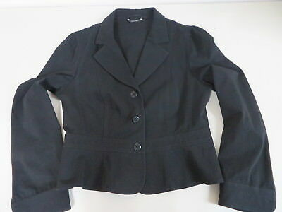 Max Mara  Weekend  Cotton textured Stretch L.sleeve Cropped Black Blazer US14