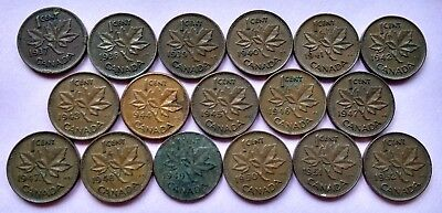 COMPLETE LOT OF 17 CANADA 1937-1952 PENNIES KING GEORGE Vl CENTS (EXACT COINS)