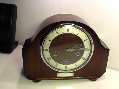 Antique Art Deco Alexander Clark Co. Oak Cased Mantle Clock,Silvered Dial,chimes