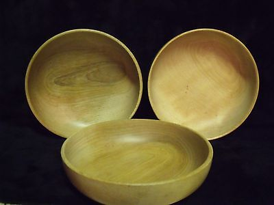"Set of (3) Woodbury Woodware Shelburne, Vermont 6"" Hand Turned Wood Bowls"