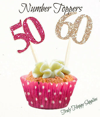 Cupcake Toppers any age Birthday 1 2 13 16 18 20 21 30 40 50 60 70 + Many Colour