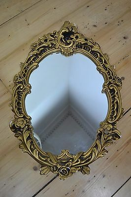 VINTAGE 1950's BAROQUE STYLE GOLD PLASTER FRAMED MIRROR UK MADE