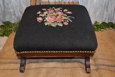 Antique Carved Wood Black Floral Needlepoint Footstool Foot Rest Nailhead Trim