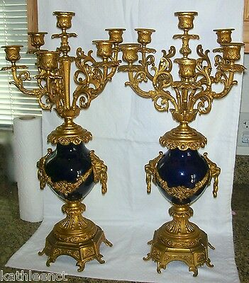 Pair Of Antique 19th Century Sevres Style Cobalt & Gilt Dore Bronze Candelabras