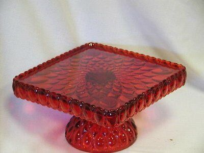 "New Mosser 10"" Square Ruby Red Glass Pedestal Cake Plate"