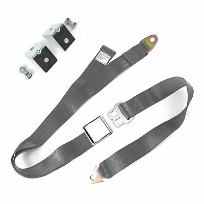 2pt Gray/Grey Airplane Buckle Lap Seat Belts w/ Anchor Plate Hardware Pack