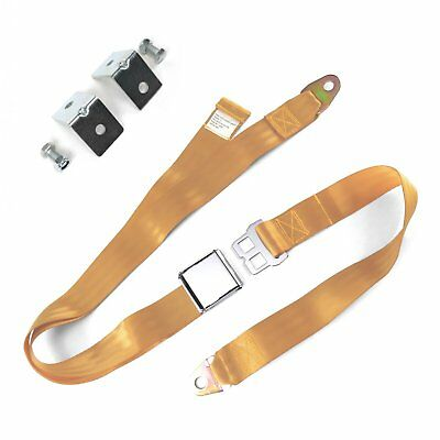 2pt Peach Airplane Buckle Lap Seat Belts w/ Anchor Plate Hardware Pack SafTboy