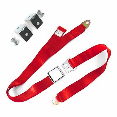 2pt Red Airplane Buckle Lap Seat Belts w/ Anchor Plate Hardware Pack SafTboy rod
