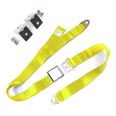 2pt Yellow Airplane Buckle Lap Seat Belts w/ Anchor Plate Hardware Pack SafTboy