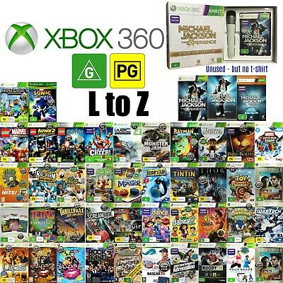 💚 Microsoft XBOX 360 ●● G & PG Rated Game TITLES L to Z ●● Your Choice 23/05