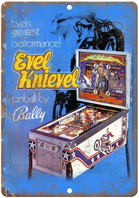 "Bally Pinball Machine Ad Evel Knievel RARE 10"" x 7"" Reproduction Metal Sign D58"