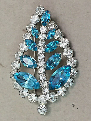 Vintage White & Teal Crystal Leaf Shaped Pin Brooch in Silver-Tone Setting