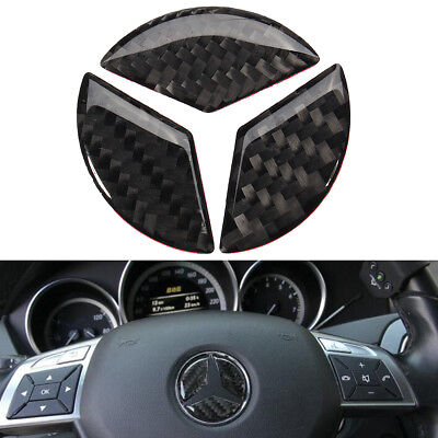 45mm Carbon Steering Wheel Emblem Badge Sticker Decal Cover For Mercedes Benz