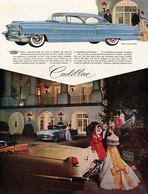 1956 CADILLAC COUPE DeVILLE VINTAGE ORIGINAL LAMINATED AD ART