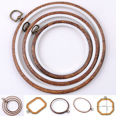 8 Size Wooden Plastic Frame Embroidery Hoop Ring Round Loop For Cross Stitch