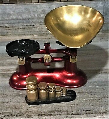 Vintage Red & Brass Victor Cast Iron Scale w/ Brass Weights Made In England