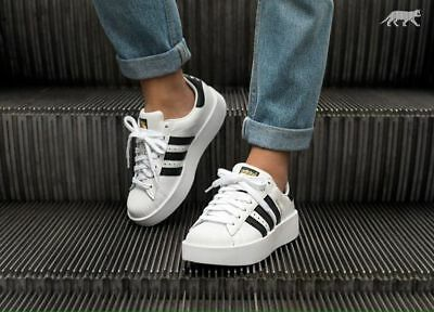 d8e867f4e815 Womens adidas Superstar Bold Platform White Core  Black  Gold Metallic  BA7666