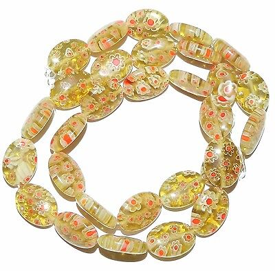 """G2986 Yellow-Green with White & Red Flower 14mm Oval Millefiori Glass Bead 15"""""""