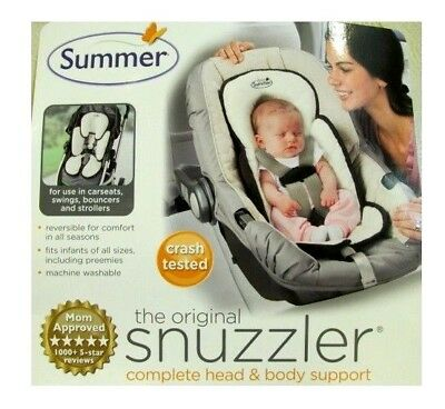 Summer Snuzzler Infant Support for Car Seat and Strollers Black Ivory Velboa New