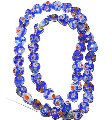 """G3062 Blue with Multiple Color Flowers 8mm Flat Heart Millefiori Glass Beads 15"""""""