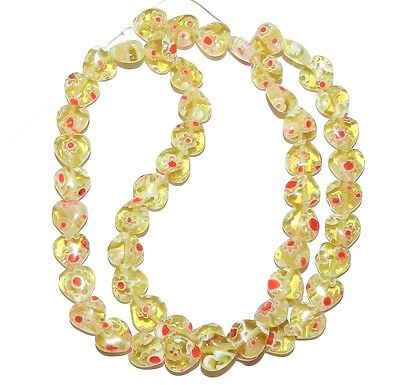 """G3081f Yellow-Green with Red & White Flowers 8mm Heart Millefiori Glass Bead 15"""""""