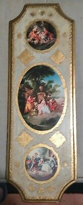 Vintage Gold Gilt Victorian Plaque Wall Decor Italy Florentine Toleware Wood 20""
