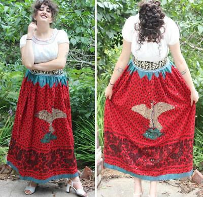 VINTAGE 1930s MEXICAN CHINA POBLANA FOLK DRESS: SKIRT, BLOUSE, SASH- Size M / L