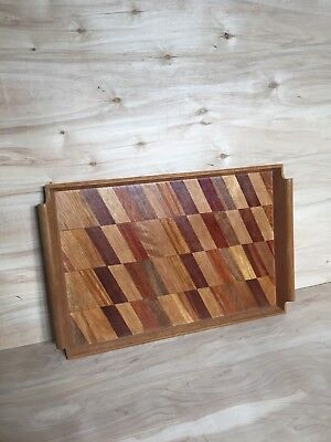 Mid Century Modern Wood Tray with Geometric Inlay, Serving Tray