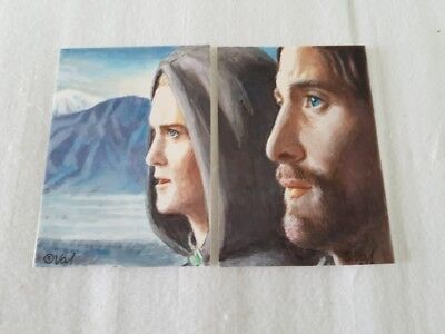 Lord Of The Rings Two Part Mini Painting Aceo Psc Sketch Art Card