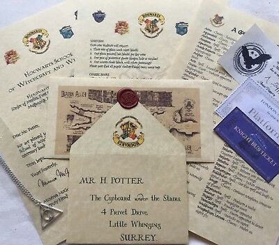 Personalised Acceptance Letter FREE Hallows Necklace Harry Potter Hogwarts