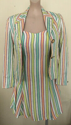 Versace Jeans Couture Rare Vintage 90s Candy Stripe Pastel Dress And Jacket