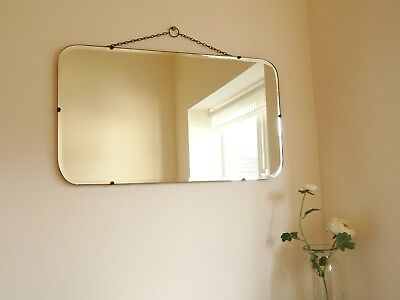 Vtg Art Deco 30s Frameless Wall Mirror Rounded Rectangle Hanging Chain Modernist
