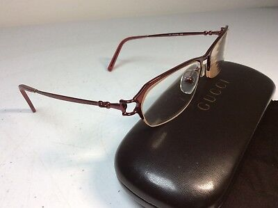 b0004a49c9 EUC GUCCI GG 2736 Q23 Rose SEMI RIMLESS METAL 135MM EYEGLASSES Glasses Frame