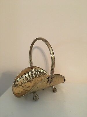 Vtg Hammered Brass Basket Miniature Fireside Shape Footed/ Handle/ Copper Rivets