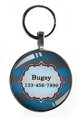 1 inch striped Pet ID Tag for Collar small dog tags new cat custom !!