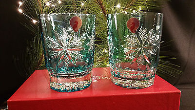 Waterford Crystal Snow Crystals Dof Double Old Fashioned Pair Nib Aqua Glasses