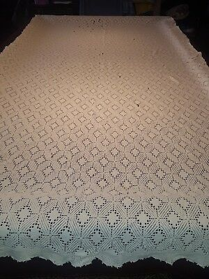 Antique Beige Cotton Woven Tablecloth 124x58 Repairs needed or for CRAFTS
