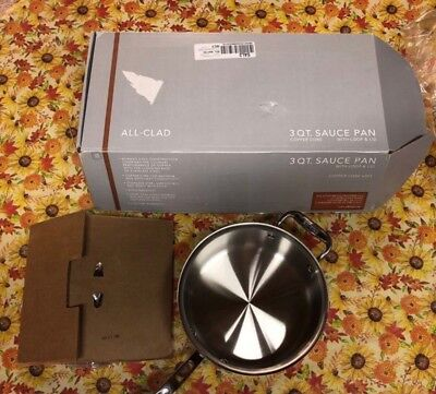 All-Clad 3qt Sauce Pan with Lid & Loop Handle, Copper Core, Stainless Steel 6203