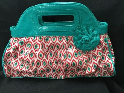3509dca29801 Vera Bradley Purse Handbag Got It Handle Call Me Coral Teal Turquoise Pink  EUC